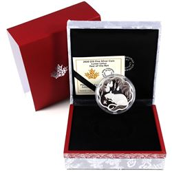 2020 Canada $15 Lunar Lotus Year of the Rat Fine Silver Coin (capsule is cracked). TAX Exempt.