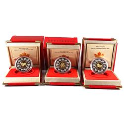 2001, 2002 & 2003 Canada $15 Sterling Silver & Gold Cameo Coins - 2001 Year of the Snake, 2002 Horse