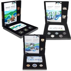 2010 Canada Vancouver Olympics Gold, Silver & Bronze Collector's Sets. The casing for the sets is da