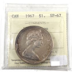 Silver 1967 $1 ICCS Certified SP-67 Heavy Cameo. Beautifully Toned