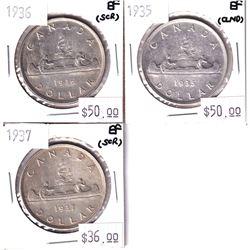 Silver $1 Lot 1935, 1936 & 1937 all EF-40. 3pcs