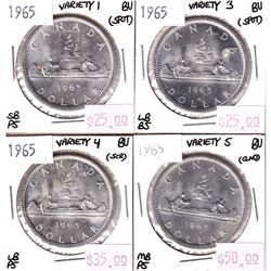 Silver $1 Lot 1965 Variety 1, 3, 4, & 5. All BU Details, with minor issues. 4pcs