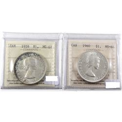 Silver $1 1959 & 1960 Both ICCS Certified MS-64. Lightly toned. 2pcs