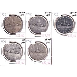 Silver $1 Lot: 5x 1952 in VF to AU conditon (some minor scratches) 5pcs