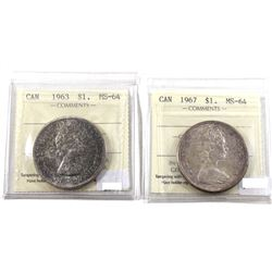 Silver $1 Lot: 1963 & 1967 Both ICCS Certified MS-64 (toned) 2pcs