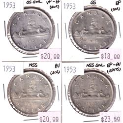 Silver $1 Lot: 4x 1953 NSS, NSS SWL, SS, & SS SWL all coins VF to AU (light scratches) 4pcs