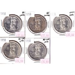 Silver $1 Lot: 5x 1958; 2x AU-UNC, 1x UNC+ & 2x BU, coins have some light toning spots or scratches.