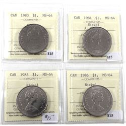 Nickel $1 Lot: 1983, 1984, 1985, & 1986. All ICCS Certified MS-64! 4pcs