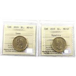 Loon $1 2019 Regular Loon & Equality Commemorative ICCS Certified MS-67! Top Grades! 2pcs