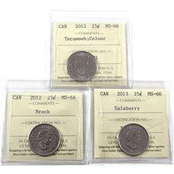2012 Canada 25-cents Tecumseh Colour, 2012 Brock & 2013 Salaberry ICCS Certified MS-66. 3pcs