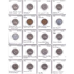 Errors: Mixed Lot of 40 x Minor Errors Canada 5cts dated 1937 to 1958. Please view image for details