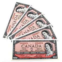 BC-38d, 5x Consecutive 1954 Modified Bank of Canada $2, Lawson-Bouey S/N: N/G3532876, 877,878, 879 &