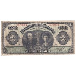 DC-18d-I 1911 Dominion of Canada $1, Bouville S/N: 557060-V. Black Line. About Very Good condition.