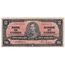 BC-22a 1937 Bank of Canada $2 Osborne-Towers, S/N: A/B5883572. VG-F condition.