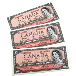 BC-38d, 3x Consecutive 1954 Modified Bank of Canada $2, Lawson-Bouey S/N: R/G5406208, 209, & 210. Al