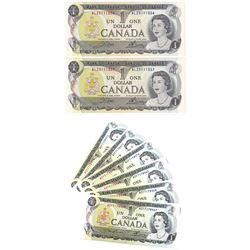 Group Lot 8x 1973 Bank of Canada $1 Bills. Lot includes 6x Consecutive BC-46a-I Lawsons-Bouey 3 lett