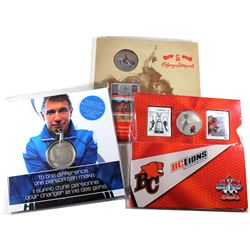 2011 Rick Hansen 25th Anniversary Relay Medallion, 2012 Canada 25-cents BC Lions CFL Coin and Stamp