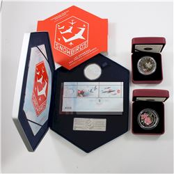 2006 Canada $5 Snowbirds Coin & Stamp Set, 2011 $20 Fine Silver Wild Rose (missing outer box) & 2013