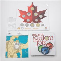2015 $20 Superman & 2015 Holiday Gift Set with Snowflake Loon Dollar & 2017 Canada 150 Circulation 1