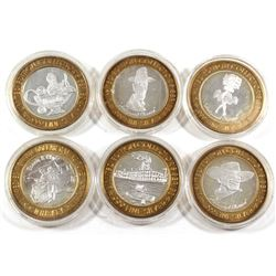Estate Lot of 6x Las Vegas .999 Fine Silver $10 Casino Tokens in Capsules. You will receive 3x Holly