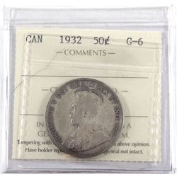1932 Canada 50-cents ICCS Certified G-6