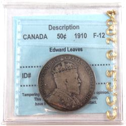 1910 Edwardian Leaves 50-cents CCCS Certified F-12