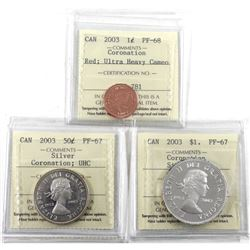 2003 Coronation 1-cent PF-68 UHC, 2003 Silver Coronation 50-cents PF-67 UHC & 2003 Coronation Silver