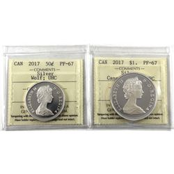 2017 Silver Wolf 50-cents PF-67 UHC & 2017 Canada Goose Silver Dollar ICCS Certified PF-67 UHC. 2pcs