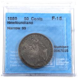 1889 NFLD Narrow 9 50-cents CCCS Certified F-15