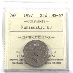 1997 Canada 25-cents ICCS Certified MS-67 NBU (mint set issue only)