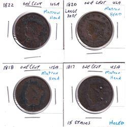 1817, 1818, 1820 Large Date & 1822 USA Matron Head Cents. 4pcs