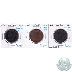 1853, 1854 & 1856 USA Braided Hair Cents. 3pcs