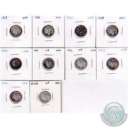Estate Lot of 10x 1919-1945 USA Mercury Dimes. 10pcs