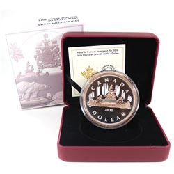 2018 Canada $1 Big Coin Rose-Gold Plated 5oz Fine Silver Coin (TAX Exempt).