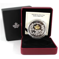 2018 Canada $30 Golden Maple Leaf 2oz Gold Plated Fine Silver Coin (TAX Exempt). Issued by the Royal