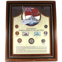 *Canadian World War II Collection in Wooden Frame with Stamps.