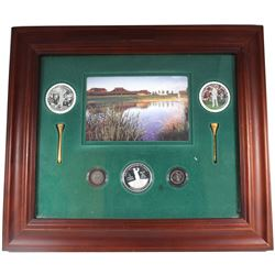 *2004 Canadian Open Golf $5 and 10-cents Coins Inside Frame with 2 Golf Tees, 2 Stamps & Small Medal