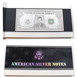 "Unique! 10 Gram .999 Fine Silver American Silver Note ""Kennedy - Establishment of the Peace Corps""."