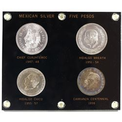 Mexican Silver 5 Pesos Silver 4-coin Set in Hard Plastic Holder. You will receive 1947-1948 Chief Cu