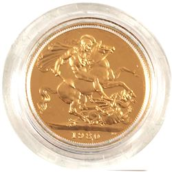 1980 Great Britain Gold Proof Sovereign in Original Green Royal Mint Display. Contains 0.2354oz Fine