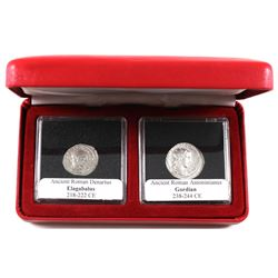 Ancient Roman 2-coin Set in Square Capsules and Red Display Case. You will receive Denarius Elagabal