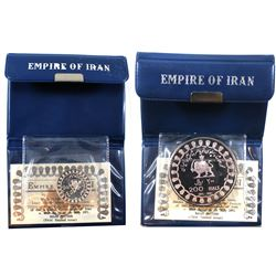 1971 Empire of Iran 25 Rial & 200 Rial .999 Fine Silver Coins in Original Blue Wallet Folders with C
