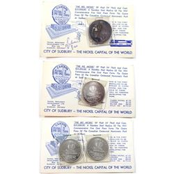 1964 Sudbury 'The Big Nickel' Medallions on Information Cards. You will receive 2x .999 Fine Silver