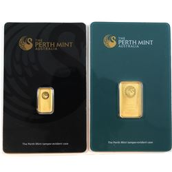 Perth Mint Australia 1 Gram & 5 Gram .9999 Fine Gold Bars in Hard Plastic Holders. 2pcs (TAX Exempt)