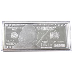2012 USA $100 1oz .999 Fine Silver Proof Banknote Design in Capsule with COA in The Washington Mint