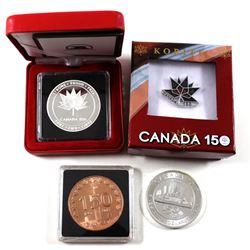 Canada 150 Group Lot - 1oz Voyageur Design Fine Silver, 1oz Strong Proud Free Canada 150 Design Fine