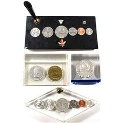 Group Lot of Vintage Acrylic Sealed Canadian Coin Sets. You will receive a 1964 Silver $1 with Canad