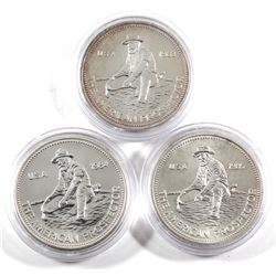 1983, 1984 & 1985 Engelhard 'The American Prospector' 1oz .999 Fine Silver Rounds in Capsules. 3pcs