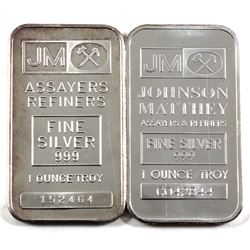 1oz Johnson Matthey .999 Fine Silver Bars - Scarcer Blank Back & Regular Back. 2pcs (TAX Exempt)