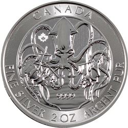 2020 Canada $10 Creatures of the North - The Kraken 2oz .9999 Fine Silver Coin (TAX Exempt). Issued
